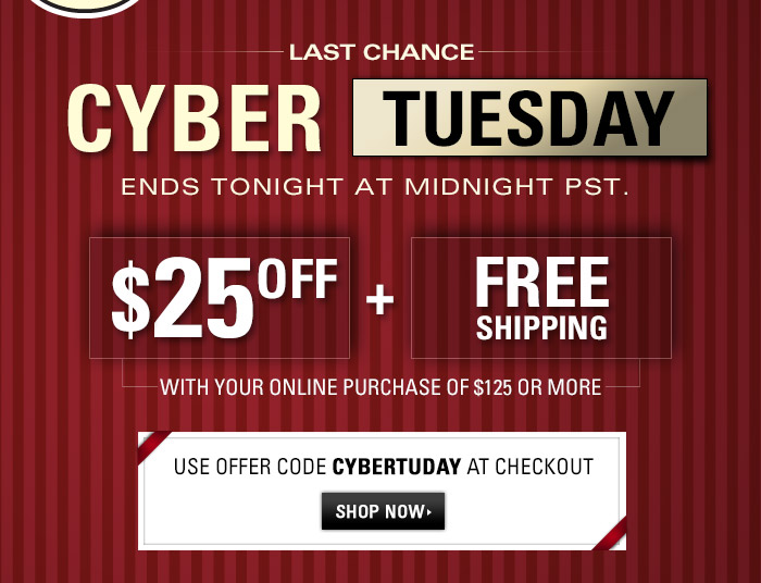 Last Chance - Cyber Tuesday Event - 25$ Off your online purchase of $125 or more PLUS Free Shipping - Use offer code CYBERTDAY