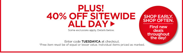 Plus! 40% Off Sitewide All Day