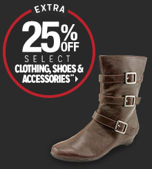 Extra 25% off Clothing, Shoes & Accessories**