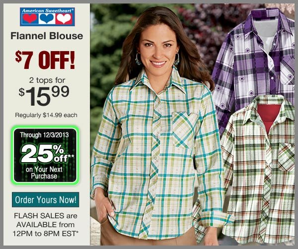$7 OFF Flannel Blouse