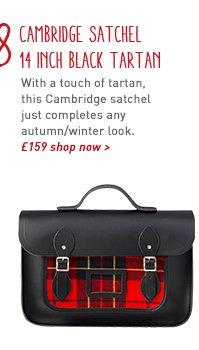 cambridge satchel 14 inch black tartan