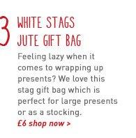 white stags jute gift bag