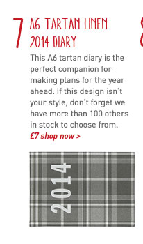 a6 week to view tartan linen 2014 diary