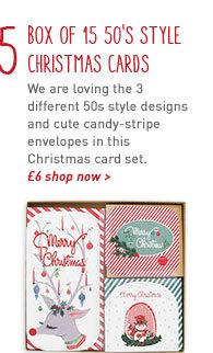 50's style christmas cards - box of 15