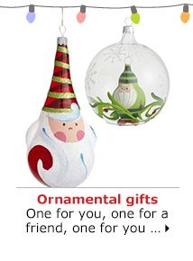 Ornamental gifts One for you, one for a friend, one for you …