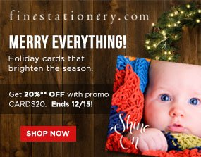 Finestationary.com Save 20%** on Holiday Cards Shop Now