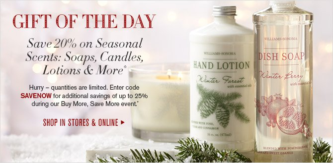 GIFT OF THE DAY - Save 20% on Seasonal Scents: Soaps, Lotions, Candles & More* - ENTER PROMO CODE SAVENOW FOR EXTRA SAVINGS OF UP TO 25% + FREE SHIPPING ON YOUR ENTIRE ORDER.* - TODAY ONLY! SHOP IN STORES & ONLINE