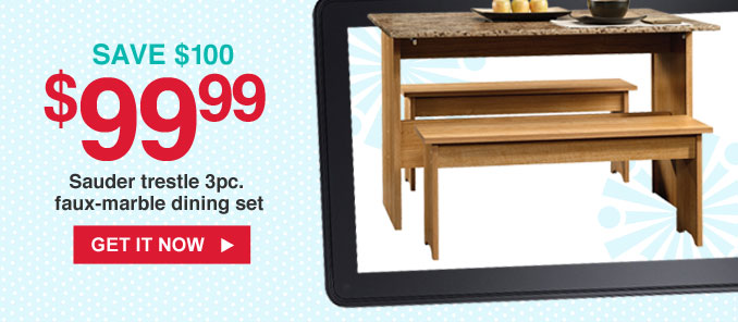 SAVE $100   $199.99 Sauder trestle 3pc. faux-marble dining set   GET IT NOW