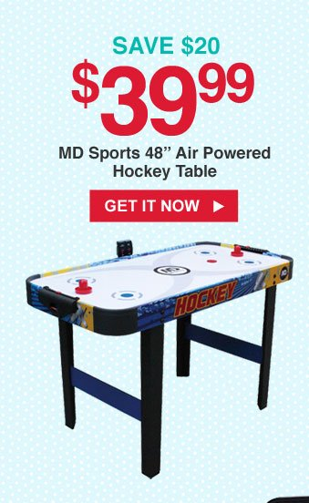 SAVE $20   $39.99 MD Sports 48 in. Air Powered Hockey Table   GET IT NOW