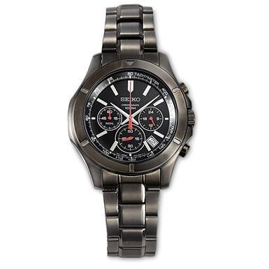 Seiko® Black Ion Chronograph Watch