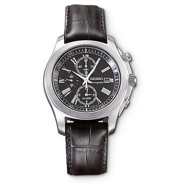 Seiko® Leather Chronograph Watch