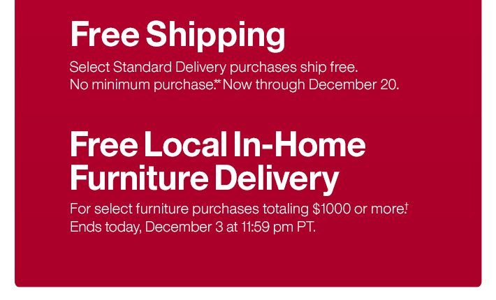 Free Shipping / Free Local In-Home  Furniture Delivery