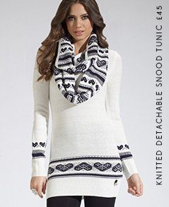 Knitted Detachable Snood Tunic