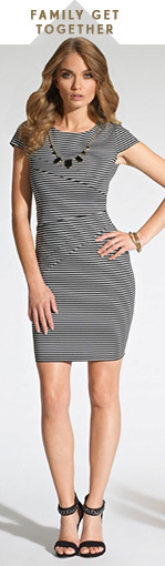 Stripe Necklace Shift Dress