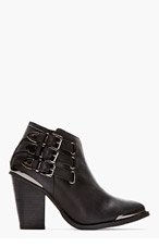 JEFFREY CAMPBELL Black Washed leather & gunmetal Westin boots for women