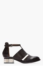 JEFFREY CAMPBELL SSENSE EXCLUSIVE Black washed leather & silver Carina flats for women