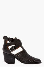 JEFFREY CAMPBELL Black leather strapped Stillwell Boots for women