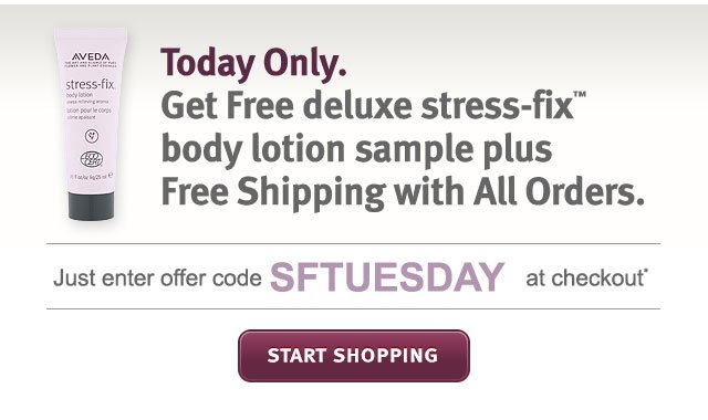 today only. get free stress fix body lotion sample plus free shipping with all orders. start shopping.