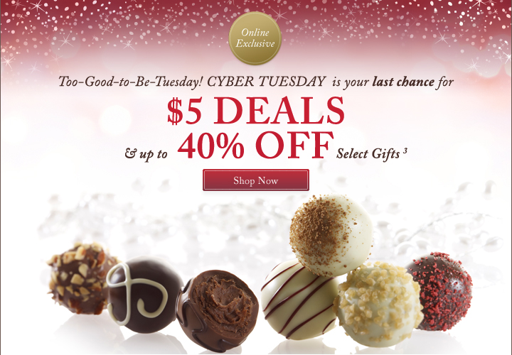 Too-Good-to-Be-Tuesday! CYBER TUESDAY is your last chance for $5 DEALS & up to 40% OFF Select Gifts (3) | Shop Now