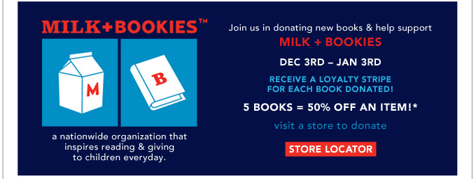 Visit a store & help us support Milk + Bookies