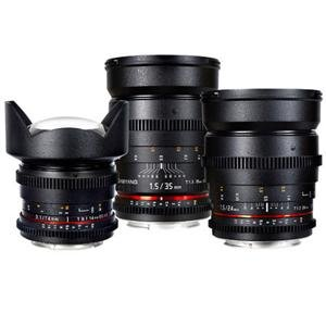 Adorama - Samyang Three Cine Lens Bundle with 14mm T3.1 , 24mm T1.5 , and 35mm T1.5 Cine Lenses