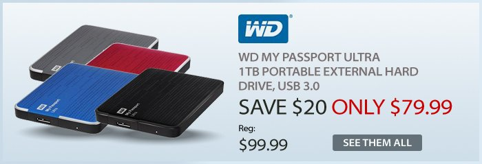 Adorama - WD My Passport Ultra 1TB  Portable External Hard Drive