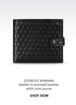 GIORGIO ARMANI - Wallet in printed leather with coin purse