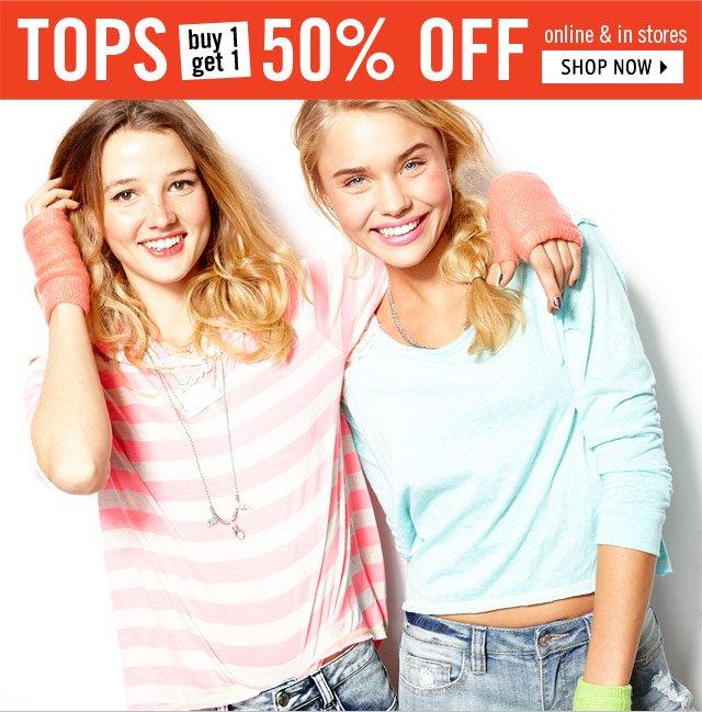 TOPS buy 1 get 1 50% OFF online & stores