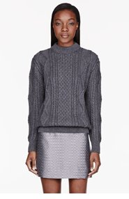 MARC JACOBS Grey Cableknit Mock Turtleneck Sweater for women