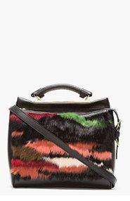 3.1 PHILLIP LIM Black Leather & Multicolor Rabbit Fur Small Ryder Satchel for women