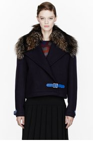 CHRISTOPHER KANE Navy Wool & fur Cropped Greatcoat for women