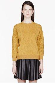 ALEXANDER MCQUEEN Mustard Jacquard Knit Rose Window Boy's sweater for women