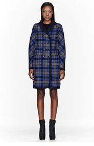 MARC BY MARC JACOBS Navy plaid Wool Reversible Gable Coat for women