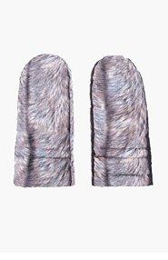 MM6 MAISON MARTIN MARGIELA Grey Fox Fur Print Drawstring Mittens for women