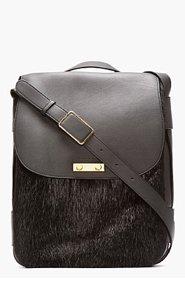 MARNI Black Leather & Nutria Fur Spitz Shoulder Bag for women