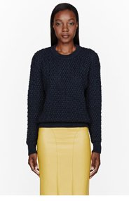 CEDRIC CHARLIER Navy blue Merino-Silk cableknit sweater for women