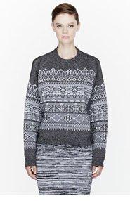 ALEXANDER WANG Grey knit Fair Isle Sweatshirt for women