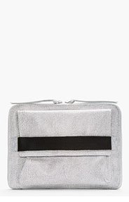MM6 MAISON MARTIN MARGIELA Grey Leather Fur-Embossed Clutch for women