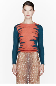 CARVEN Orange & teal mohair knit sweater for women