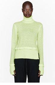 Y-3 Lime green knit W K turtleneck for women
