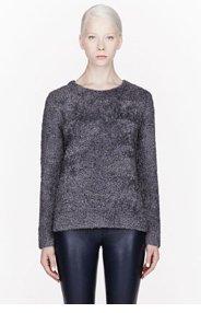 T BY ALEXANDER WANG Grey Wool Blend Slub Knit Pullover for women