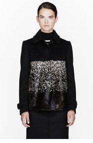 BURBERRY PRORSUM Black wool & calf-hair ombre coat for women