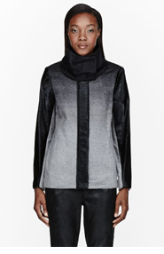 HELMUT LANG Heather grey Wool & Calf-hair Ombre Coat for women