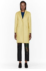 CEDRIC CHARLIER Chartreuse yellow cashmere-wool Overcoat for women