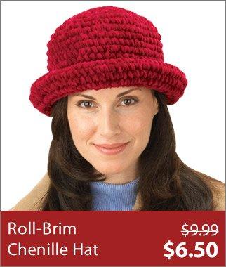 Roll-Brim Chenille Hat