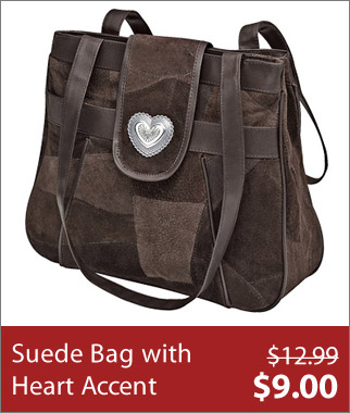 Suede Bag with Heart Accent