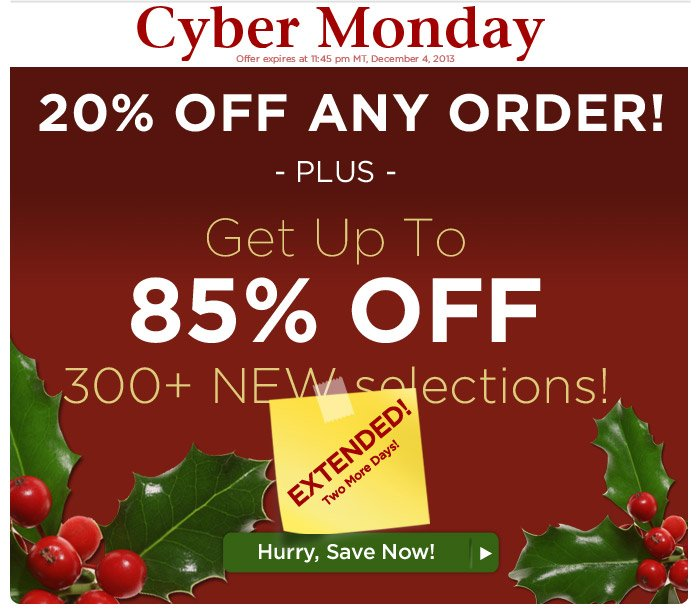Cyber Monday Savings EXTENDED 1 More Day!