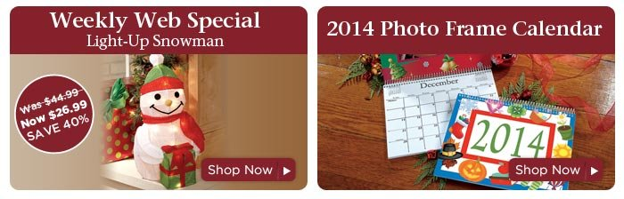 Weekly Web Special & 2014 Photo Frame Calendar