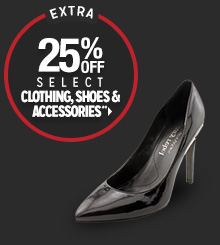 Extra 25% off Select Clothing, Shoes & Accessories**