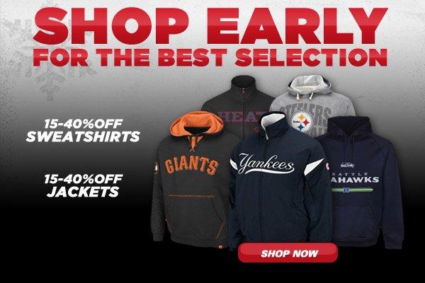 15-40% Off Sweatshirts and Jackets